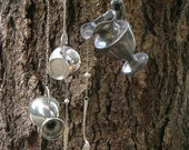 Pouring Silver Silent Wind Chime Mobile Garden Art Kitchen Art