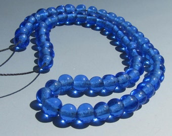 "Vintage 15-1/2"" Coneflower Blue Peking Glass 8mm Beads"