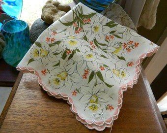 """Vintage Hankie/Hanky """"Daffy Down Dillies"""" Printed Hankie, Daffodils, Jonquils and forget-me-nots, Scalloped Edge"""