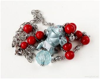 Fullmetal Alchemist Alphonse Necklace, Beaded Chain, Stainless Steel, Anime Jewelry