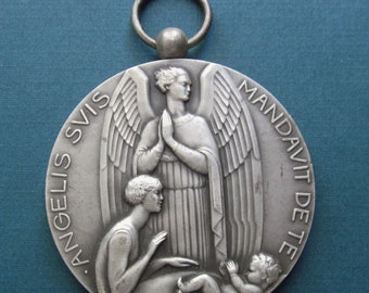 Art Deco French Guardian Angel Antique Religious Medal Catholic Bronze Art Medal  SS272