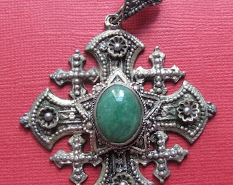 Antique Jerusalem Cross 980 Sterling Silver With Green Stone Religious Pendant  SS115