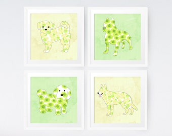 Watercolor Flowers and Dogs Art Print Set of 4 - dog art print yellow green nursery art cute animal prints baby room dogs for childrens room