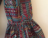 "Girls Ruffle Pants- Tribal Print  - Made from Viola Lee Pattern ""Emma Lee"""