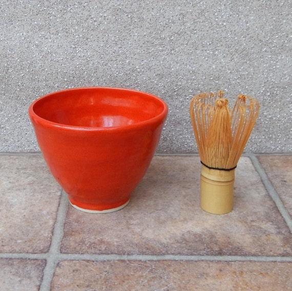 Matcha chawan green tea bowl hand thrown in stoneware pottery ceramic