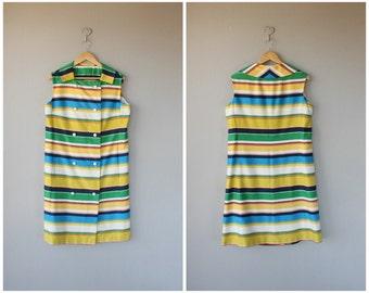 60s Dress | 1960s Dress | Vintage 60s Day Dress | Vintage 60s Dress | Cotton Dress 1960s | 60s Shift | Striped Dress
