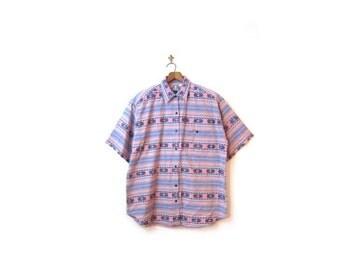 BTS SALE Vintage 80s Oversized Unisex Southwestern Woven Cotton IKAT Button Up Shirt s-xl boho hipster indie retro plus size