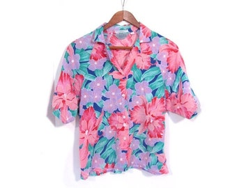 BTS SALE Vintage 80s BEACH Party Hawaiian Floral Print Button Up Blouse s m