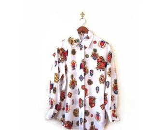 BTS SALE Vintage 80s Oversized Preppy CREST Button Up Oxford Blouse s m l