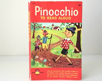 Vintage 1962 Pinocchio Childrens Book - Illustrated Kids Classic Fairy Tale - Read Aloud Series