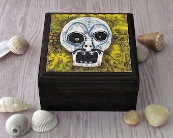 Sugar Skull Box - Day of the dead Skull Box - Dia de los Muertos Jewelry Box - Small Keepsakes box