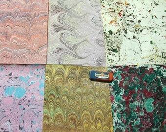 "6  マーブル紙, hand marbled  paper, card making,   Pack 6 scrapbook , papier marbrè , marmorpapier.  -  9,75"" x 13,55"" cm 25 x 35  -  5412"