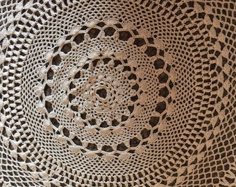 "Handmade Vintage Crocheted 30""  Round Lace Tablecloth  Free Shipping"