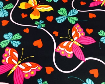 "SALE// ""For Love and Luck""// Retro Bright n Bold Neon Novelty// Butterfly Print w/Hearts & Clovers on a Blk ground"