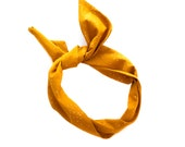 Burnt Mustard Dot Wire Headband - Cotton Pattern Fabric Scarf Turban Wrap - Handmade in California by Mane Message on Etsy