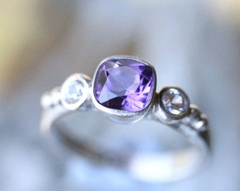 Deep Purple Amethyst And White Sapphire Sterling Silver Ring, Gemstone Ring, Three Stones Ring, Engagement Ring, Stacking Ring-Made To Order