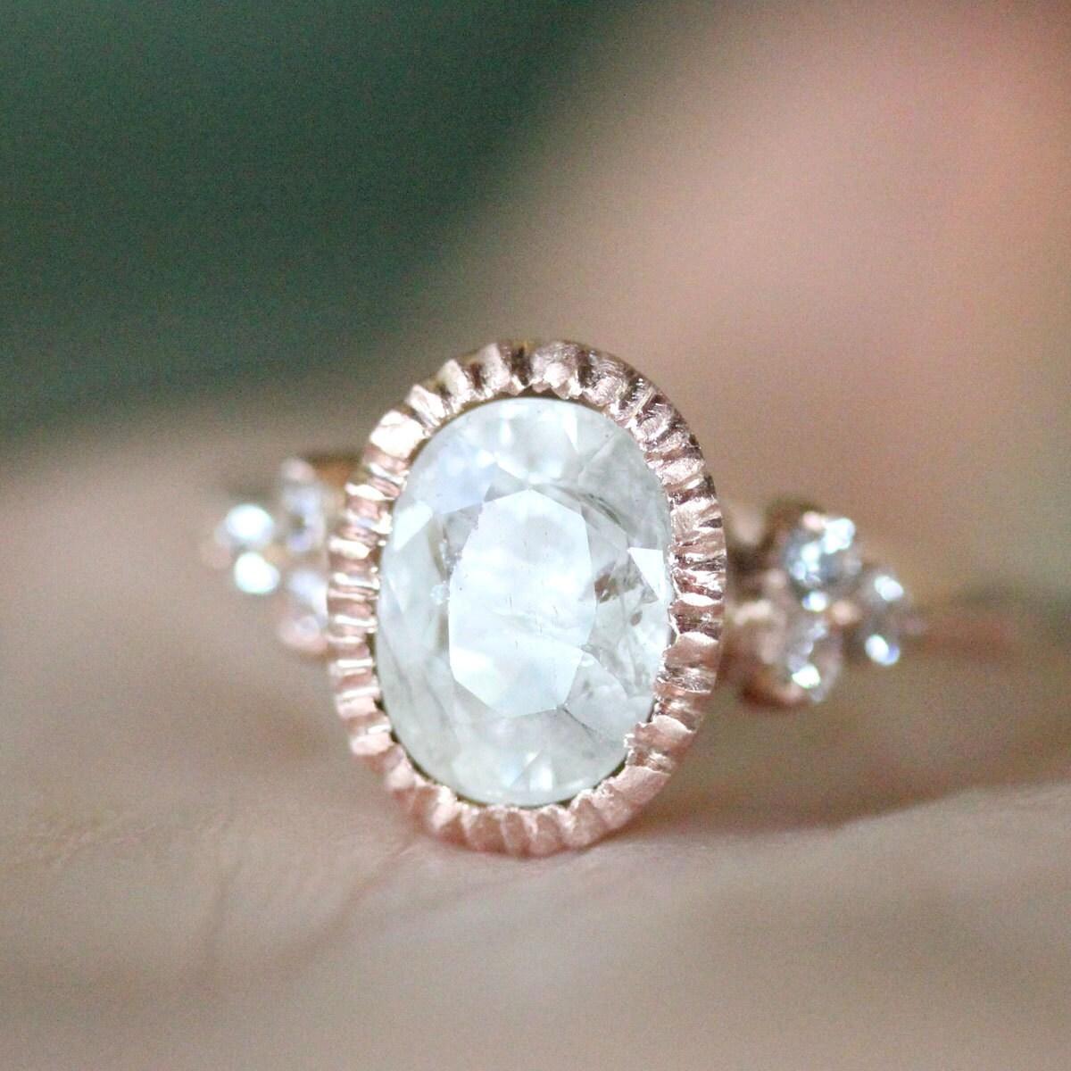 White Sapphire 14k Rose Gold Engagement Ring Gemstone Ring