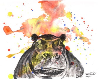 Hippo Animal Art Print From Original Watercolor Painting Hippopotamus Art Print Great Baby Nursery Wall Art Animal Nursery Decor