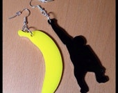 Banana Chimp Earrings - Monkey Jewelry in Lasercut Acrylic, Dangle Earrings by Purple and Lime on Etsy