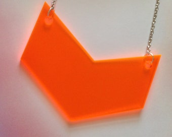 Neon Orange Statement Necklace - Very Large Chevron Geometric Shape Necklace - Fluorescent Acrylic
