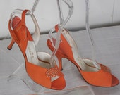 1950'S Vintage Dead Stock Coral Suede Leather Slingback Heels By Mackey Starr New York