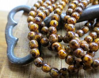 NEW Burnt Orange Druks . Czech Picasso Glass Beads . 3 mm . (50 beads)
