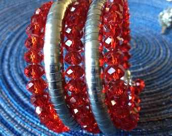 Coil Bracelet Red and Silver