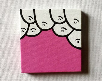 Cheps! - Pink - Acrylic Painting On Canvas - Original - Tiny Miniature Painting