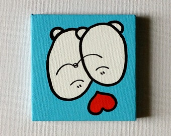 Say it with a Chep - Chep Love - Acrylic Painting On Canvas - Original - Tiny Miniature Painting