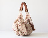 Floral bag beige, hobo purse, flower bag, slouchy bag, handbag, canvas purse, everyday bag,- Mini Kallia bag