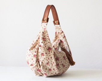 SALE 15% Floral bag beige, hobo purse flower bag slouchy bag handbag canvas purse everyday bag - Mini Kallia bag