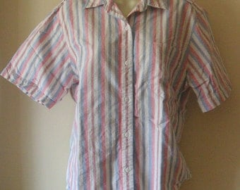 Ladies 100 percent cotton shirt blue white red and black stripe vintage size small blouse made of  cotton JOHN HENRY brand