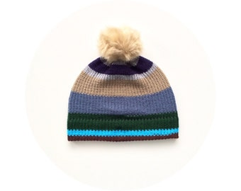 Bobble hat, colourful striped knit ski beanie, winter pom pom beanie FREE SHIPPING