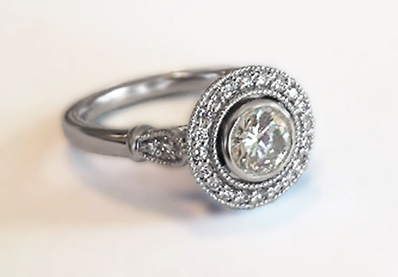 Vintage Halo Style Engagement Ring in 14K White Gold with