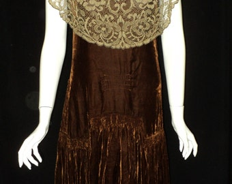 FINAL SALE 1920s Silk Velvet and Lace Dress Dropwaist Wearable with Ties in the Back with Dramatic Hemline Gatsby Style