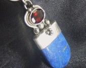 Vintage Lapis Lazuli Garnet Sterling Silver Pendant, Lapis Necklace Snake Chain, Bohemian Necklace, Garnet Pendant, 7.3 Gr