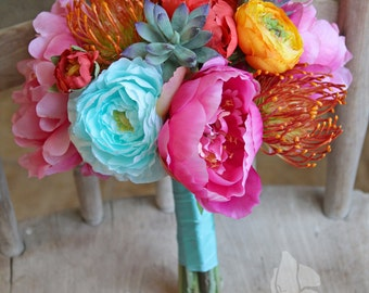 Tropical Teal Orange and Flamingo Pink Small Wedding Bridal Bouquet