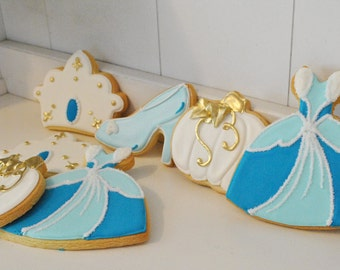 Cinderella Princess Theme Cookies - 1 dozen