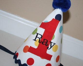 boys first birthday hat polka dot red green blue yellow  boys 1st birthday hat, rainbow cake smash outfit, primary colors