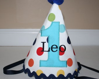 boys first birthday hat, primary color dots, boys 1st birthday hat, free personalization, cake smash outfit, boys hat, birthday hat