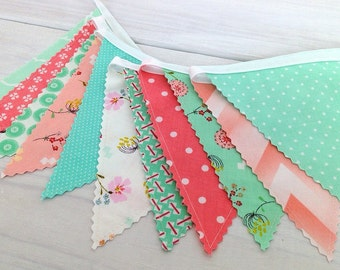 Bunting Banner, Fabric Banner, Fabric Flags, Girl Nursery Decor - Mint Green, Peach, Coral Pink, Chevron, Flowers, Floral, Posy