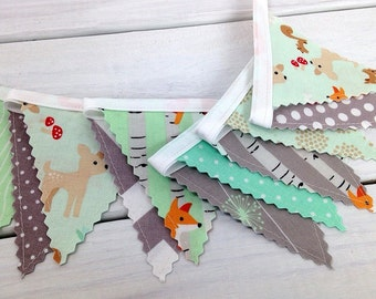 Bunting Banner Mini, Fabric Banner, Fabric Flags, Baby Nursery Decor, Woodland Nursery Decor - Woodland Animals,Mint Green,Gray,Foxes,Deer