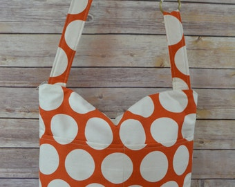 CAMERA Purse and Market Tote Bag  / Orange & Natural Polka Dot canvas, Lightweight!  Washable by Darby Mack Made in the USA, in stock
