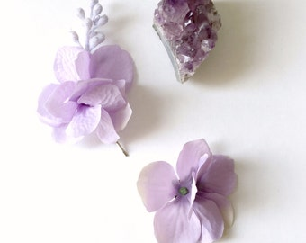 Purple flower bobby pins, bridal clips, hair pins, floral hair pin, wedding clip, hair accessory