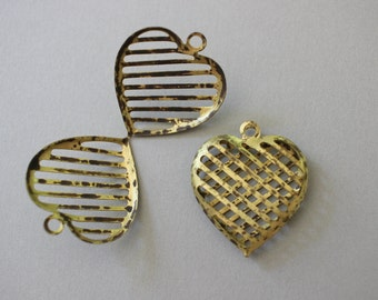 Unusual Vintage Oxidized Brass Cage Heart Pendants