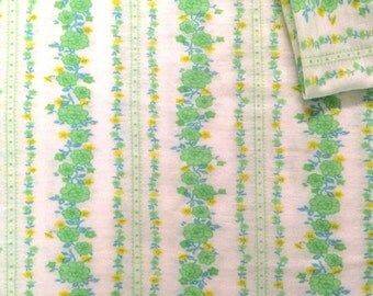 Vintage Fabric 70's Jersey Cotton, White, Green, Yellow, Blue, Floral, Textiles