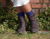 Navy Blue Color Crocheted open work lacy leg warmers spats boot cuffs fall winter fashion