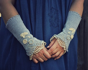 Blue Meadow - crocheted open work lacy romantic summer autumn fashion wrist warmers cuffs in pale blue and off white