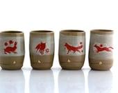 Set of four ceramic cups, unique ceramic tumbler,handmade pottery, tea cup - READY TO SHIP