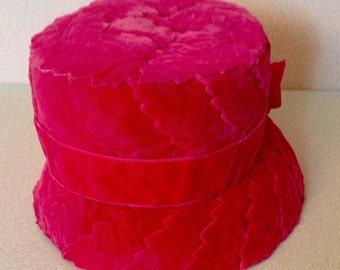 Fushia Velvet Leaf Pattern Hat